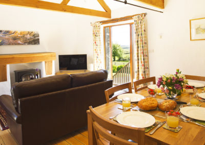 Dining area looks out to beautiful countryside