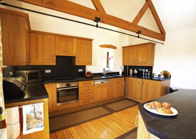 Large well equipped kitchen area at Gospenheale Barn.